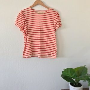 NWT Madewell Stripe Cotton Flutter Sleeve Tee